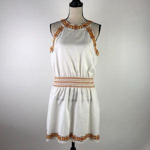 Tory Burch Orange  Blue Embroidered Halter Dress M
